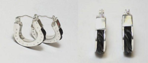 www.galope.nl- creolen hoefijzer paardenhaar zilver groot OZ403 horse hair