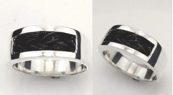 www.galope.nl-zilveren ring korte paardenhaar vlecht RZ100